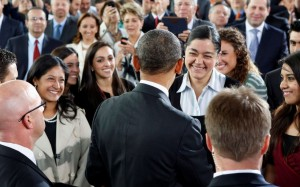 U.S. President Barack Obama greets members of the audience after delivering a speech at the Anthropology Museum during his visit to Mexico City May 3, 2013.    REUTERS/Kevin Lamarque   (MEXICO - Tags: POLITICS) ORG XMIT: WHT211